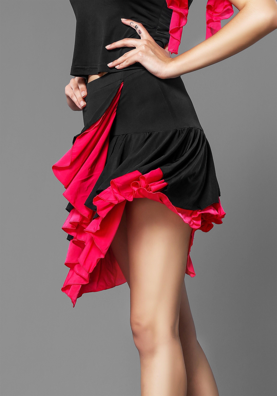 Hot Sexy Black Crepe Latin Skirt-4042