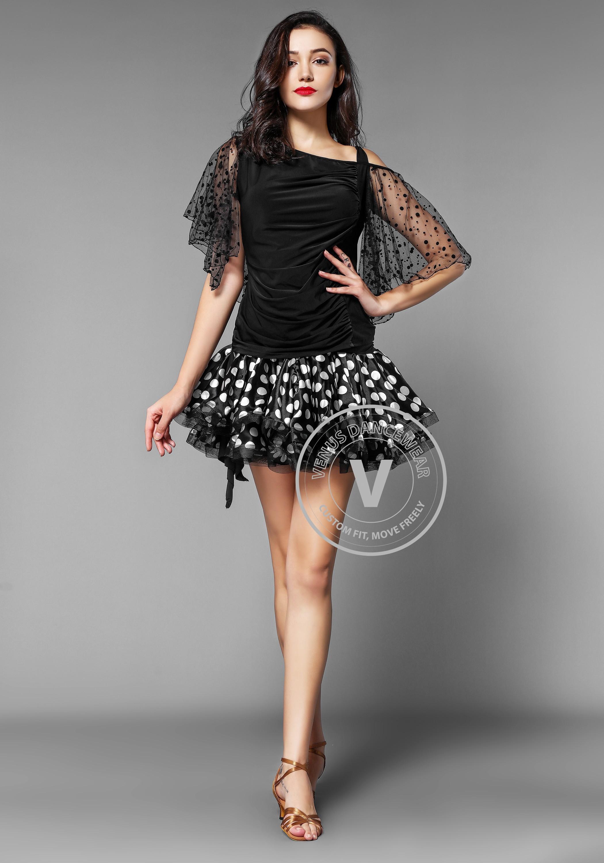 White Spotted Latin Rhythm Skirt