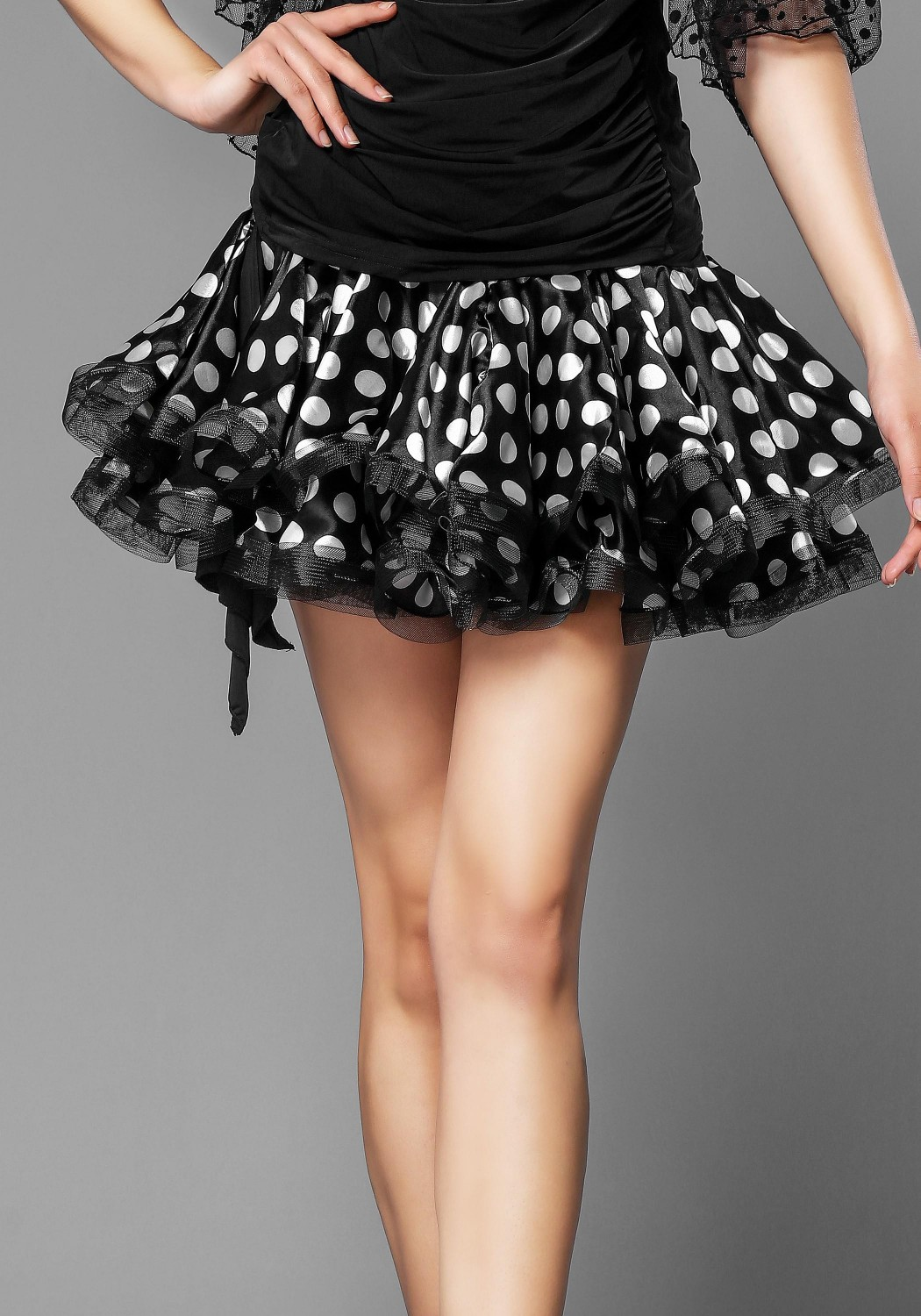 White Spotted Latin Rhythm Skirt