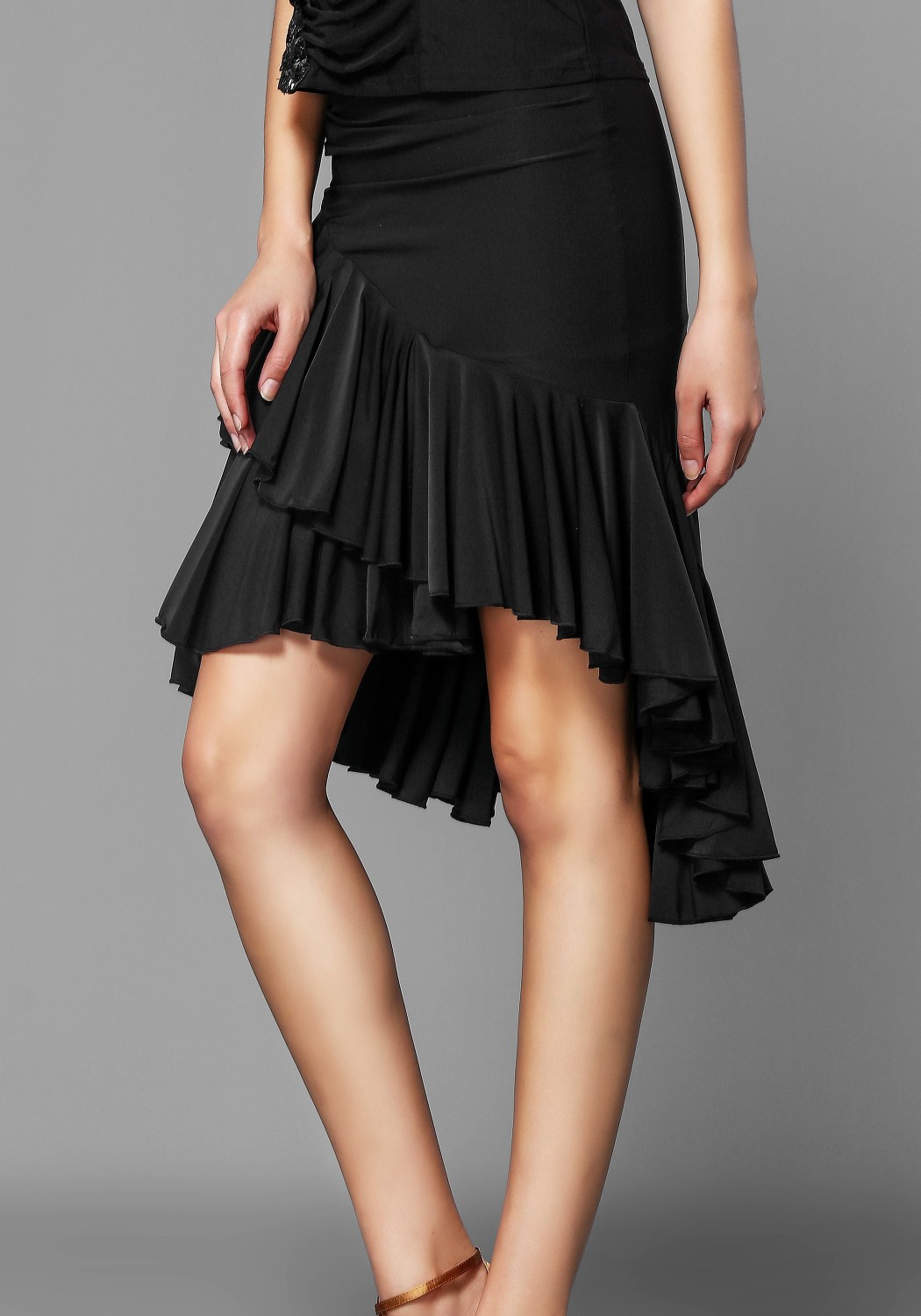 Black Pleated Ruffle Latin Rhythm Skirt