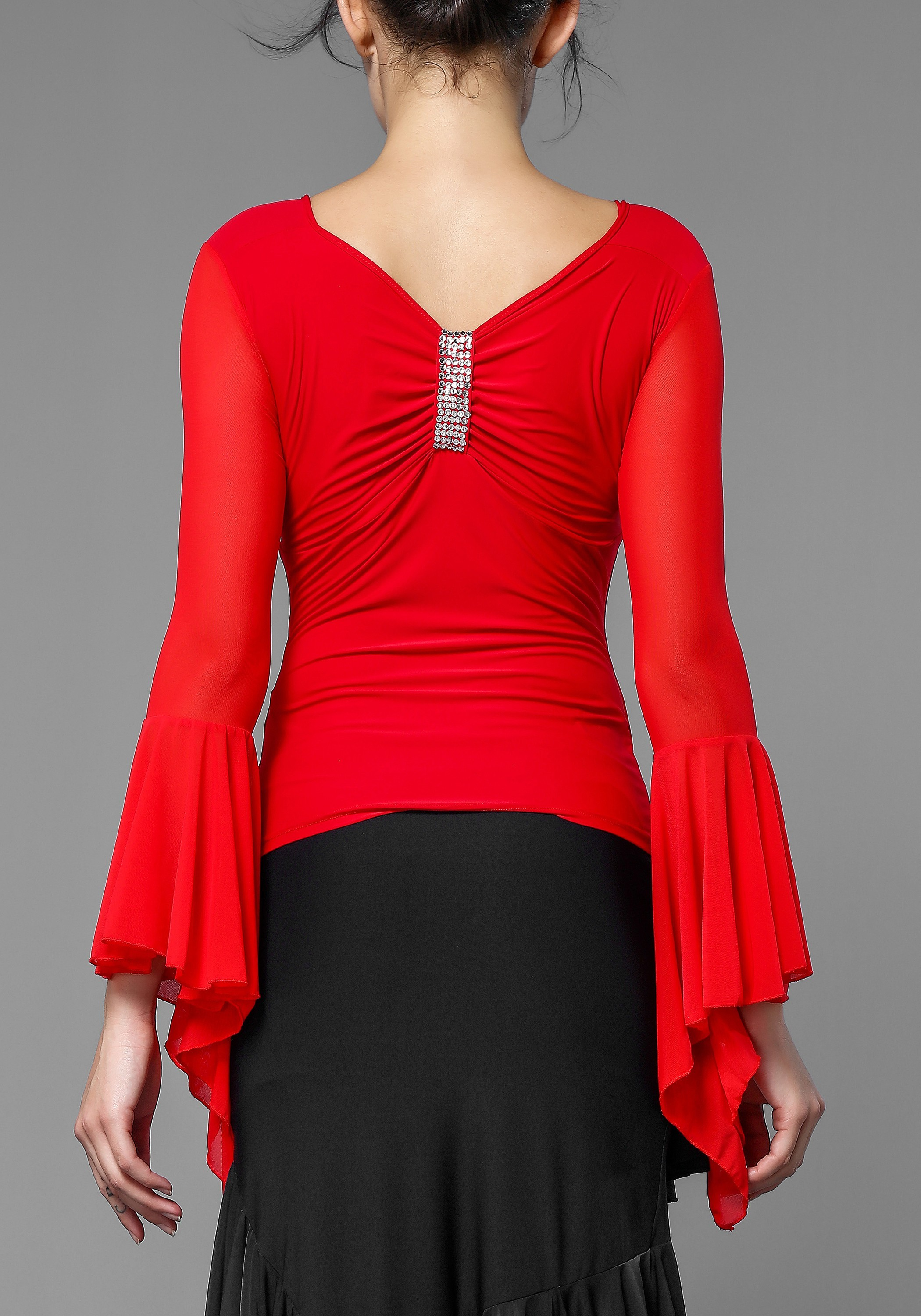 Hot Red Luxury Flare Sleeve Dance Top