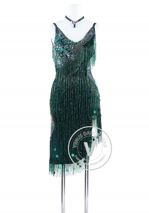 Green Hand-Sewing Beading Fringe Ryhthm Salsa Latin Dance Competition Dress