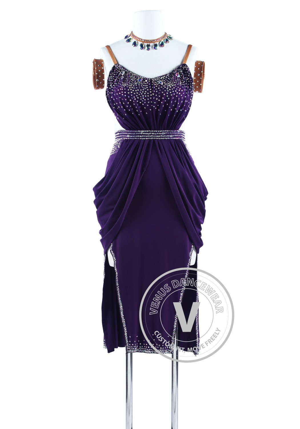Plum Elegant American Ryhthm Sexy Salsa Latin Dance Competition Dress