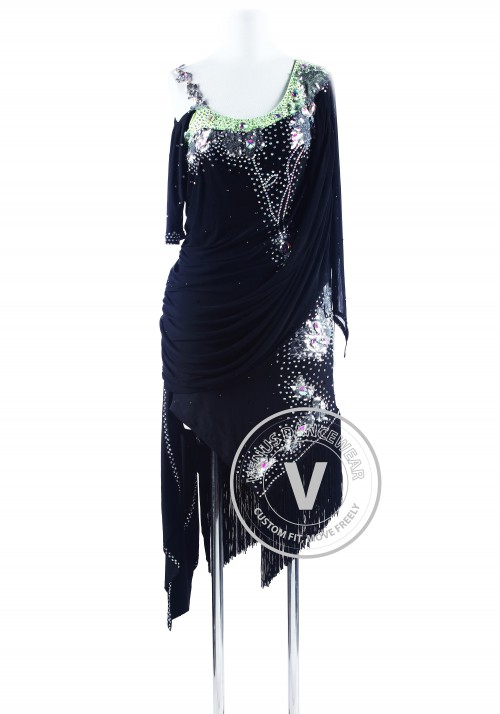 Black with Silver Sequin Appliques Ryhthm Salsa Dance Latin Competition Dress