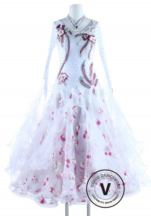 Sakura Cherry Blossom Standard Ballroom Competition Dance Dress