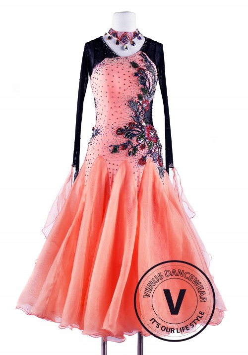 Fusion Coral Smooth Waltz Tango Ballroom Competition Dress