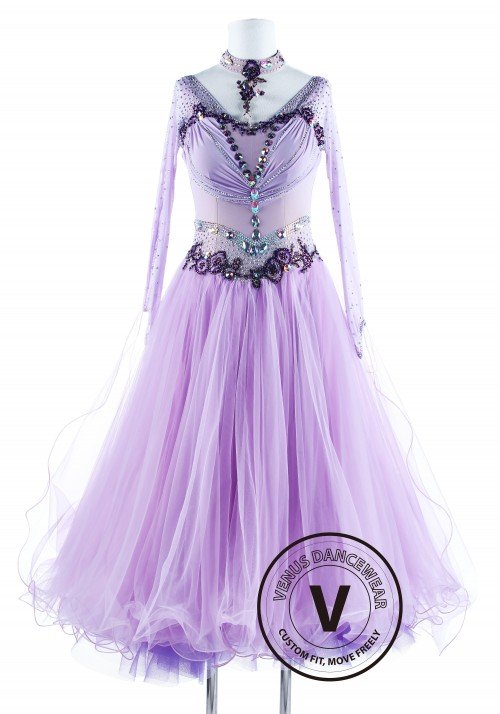 Lavender Princess Standard Ballroom Waltz Competition Dance Dress