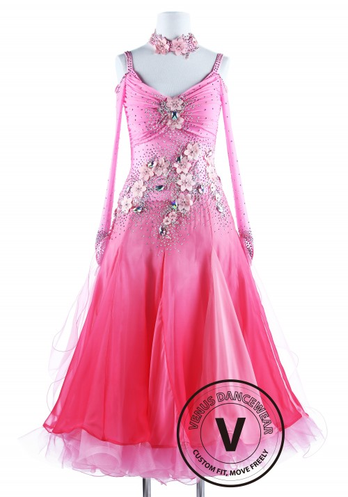 Cherry Blossom Fairy Waltz Ballroom Competition Dance Dress