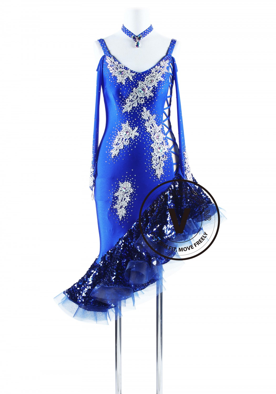 Royal Blue Latin Rhythm Salsa Chacha Dance Competition Dress