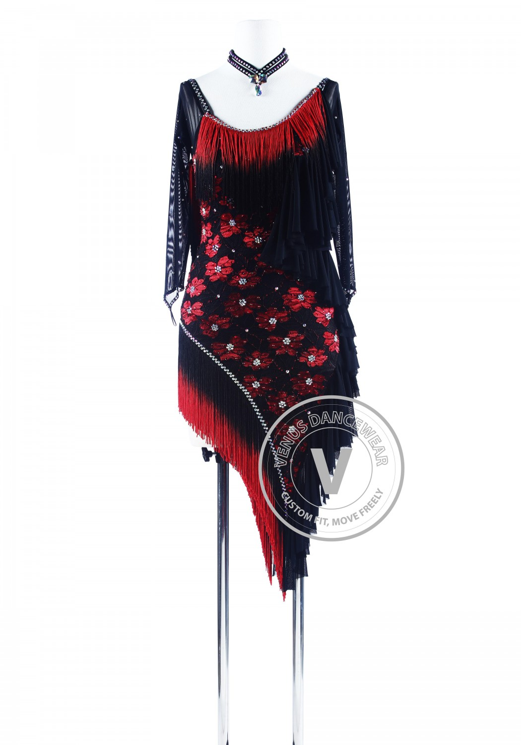 Red Shading Black Fringe Lace Rhythm Salsa Dance Latin Competition Dress