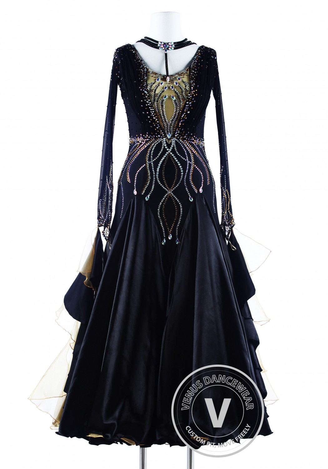 Black Golden Wave Luxury Foxtrot Waltz Quickstep Competition Dress