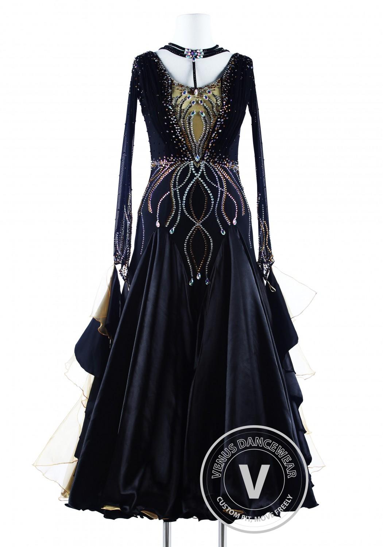 Black Golden Wave Luxury Foxtrot Waltz Quickstep Competition Dress