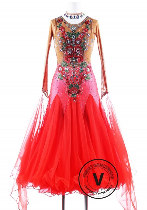 Roses in flames Waltz Competition Ballroom Dance Dress