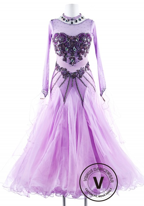 Lavender Love Waltz Smooth Ballroom Competition Dress