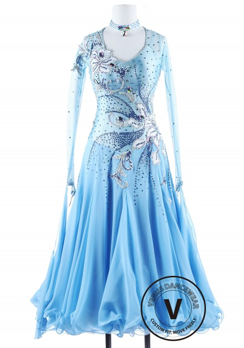 Edelweiss Blue Ballroom Competition Dance Dress