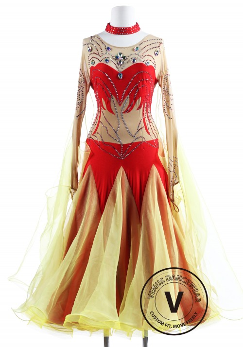 Red Aurora Borealis Ballroom Competition Dance Dress