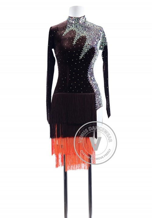 Chocolate Velvet Fringe Luxury Latin Competition Dress