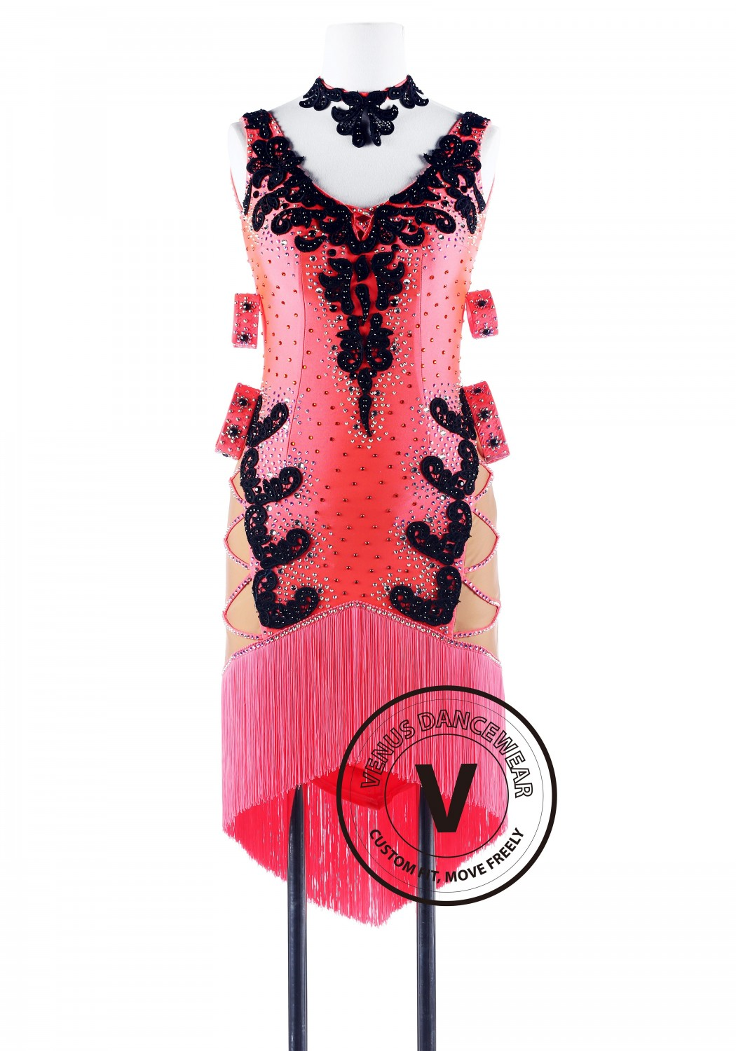 Coral Fringe Latin Competition Dance Dress