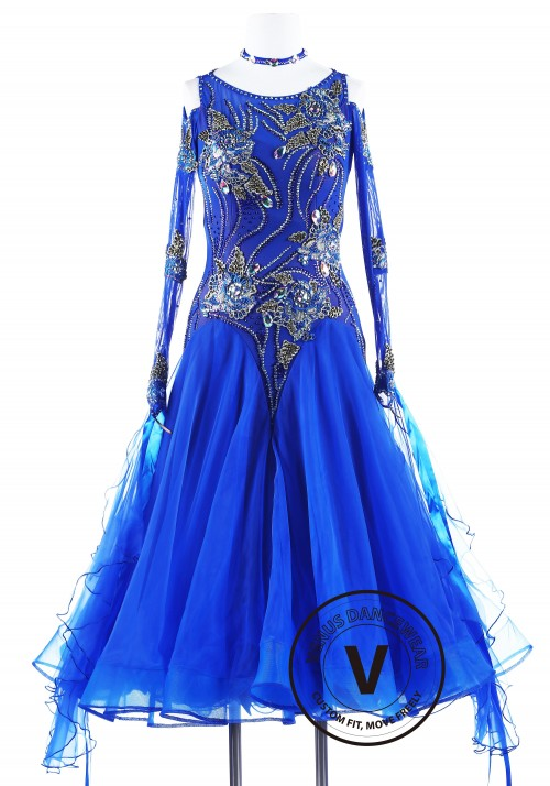 Blue Rose Ballroom Competition Dance Dress