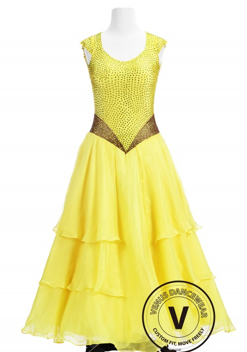 The Beauty Yellow Ballroom Competition Dance Dress
