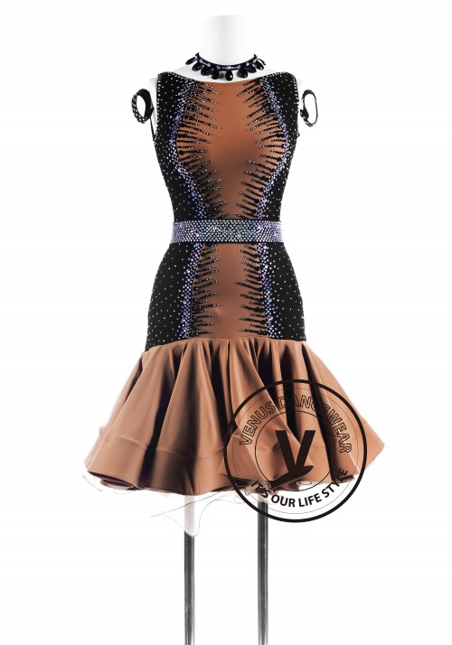 Caramel Black Fishnet Latin Competition Dance Dress