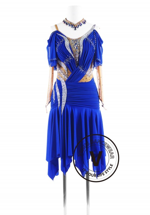 Royal Blue Sleeves Luxury Latin Competition Dance Dress