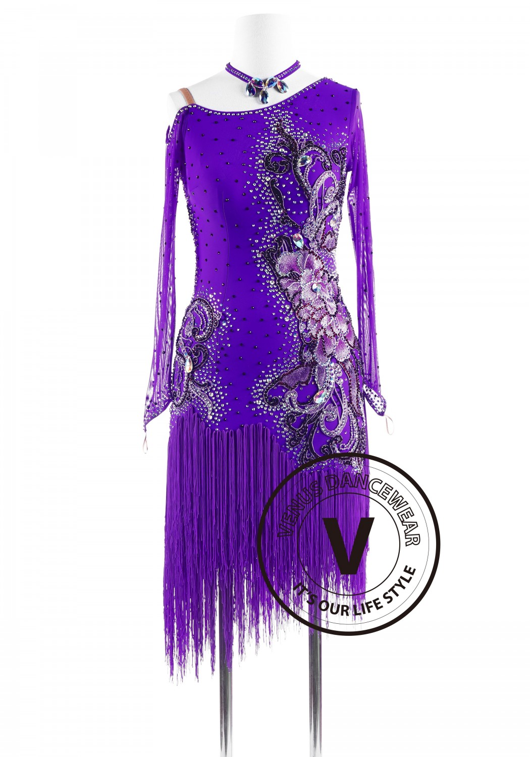 Hyacinthine Luxury Fringe Latin Competition Dance Dress