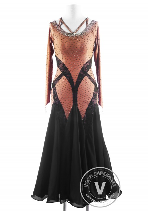 Caramel Lace Ballroom Smooth Competition Dance Dress