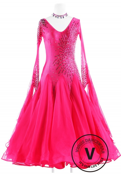 Rose Sequin Ballroom Standard Competition Dance Dress