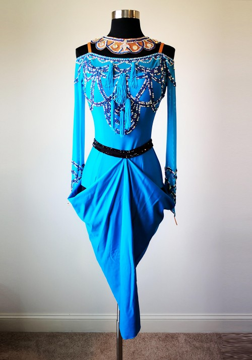 Elegant Palace Blue American Rhythm Salsa Latin Competition Sample Dress