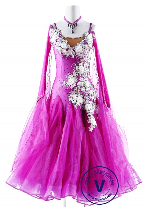 Snowflake Embroidered Pink Ballroom Competition Dance Dress