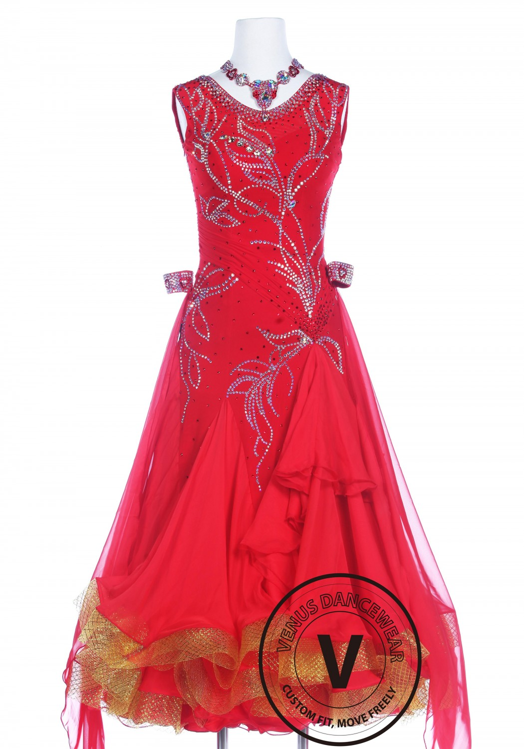Luxury Bright Red Ballroom Smooth Competition Dance Dress