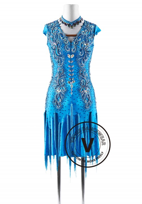 Vintage Blue Beaded Latin Rhythm Competition Dance Dress