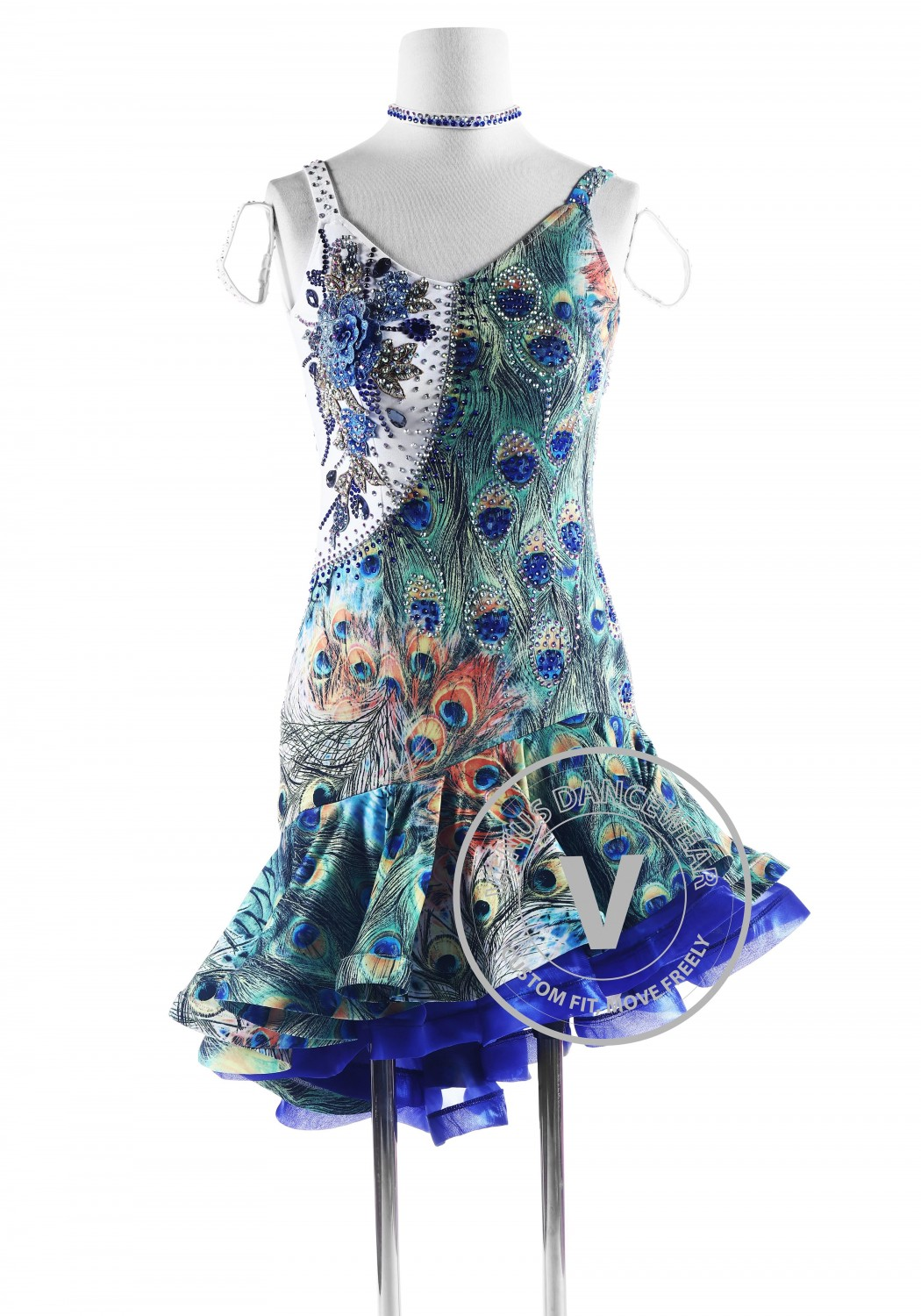 Peacock Print Latin Rhythm Competition Dance Dress