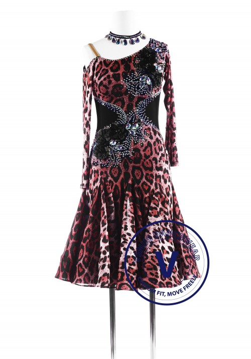 Leopard Print Latin Rhythm Competition Dance Dress