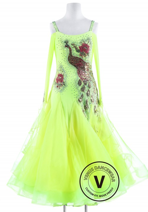 Neon Green Peacock Standard Competition Dance Dress