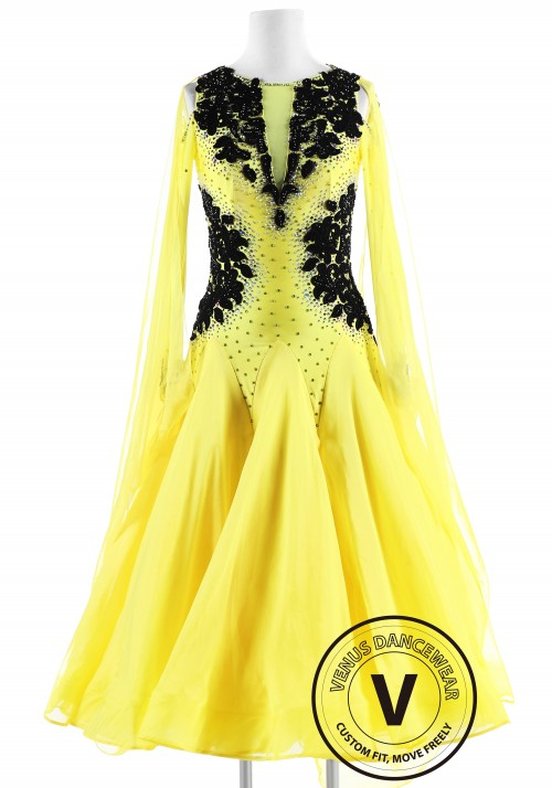 Black Appliques on Yellow Ballroom International Competition Dress
