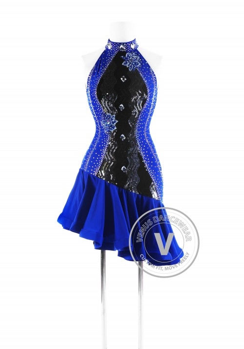 Royal Blue and Sequin Sleeveless Latin Competition Dress