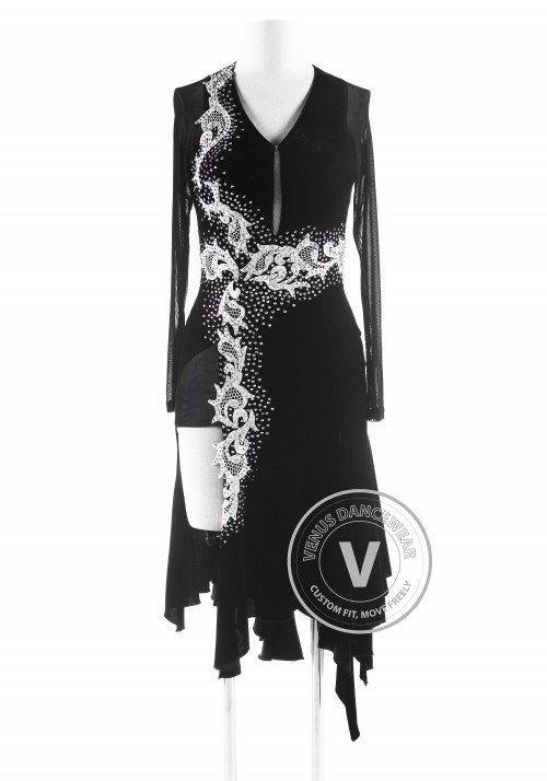 Black Velvet Ruffle Competition Latin Dance Dress