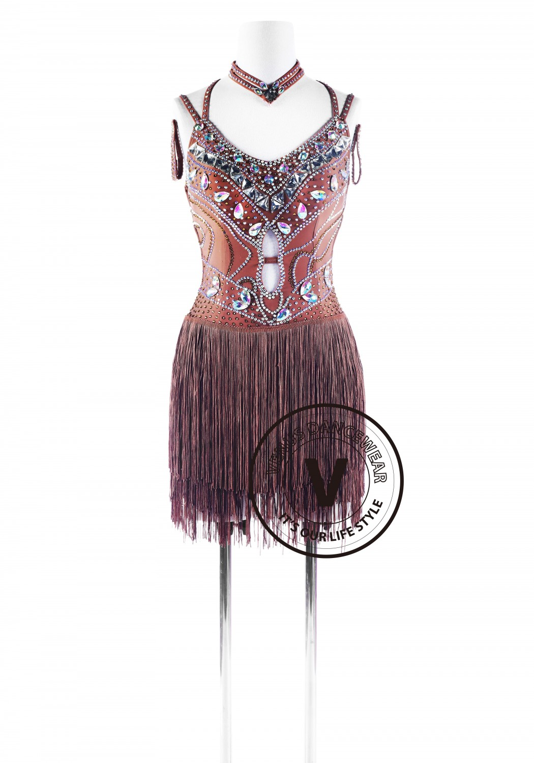 Caramel Fringe Latin Rhythm Competition Dance Dress