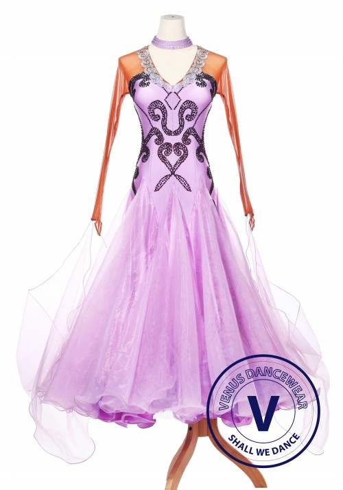Bronze Contrast Lavender Ballroom Dance Smooth Standard Waltz Competition Women Dress