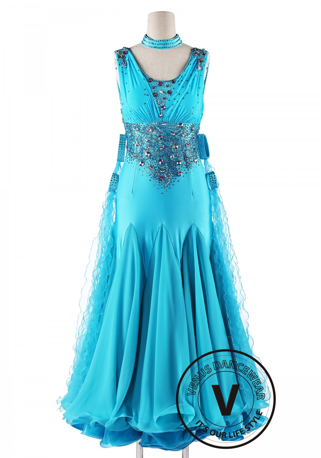 Bright Turquoise Competition Swing Smooth Dance Dress