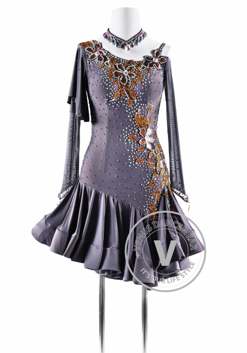 Smoked pearl Latin Rhythm Competition Dance Dress