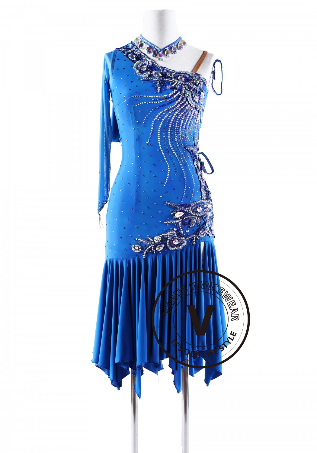 Ondine Blue Latin Rhythm Competition Dance Dress