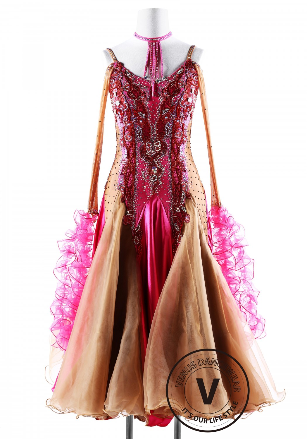 Caramel with Fuchsia Ballroom Smooth Competition Dance Dress