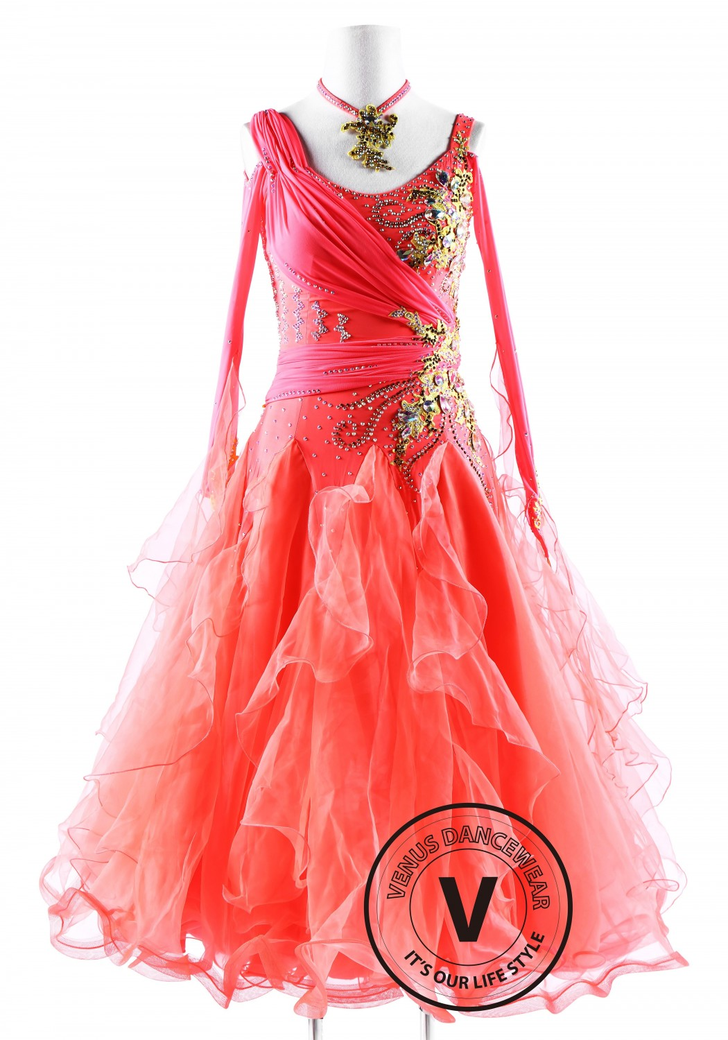 Watermelon Red Ballroom Smooth Competition Dance Dress