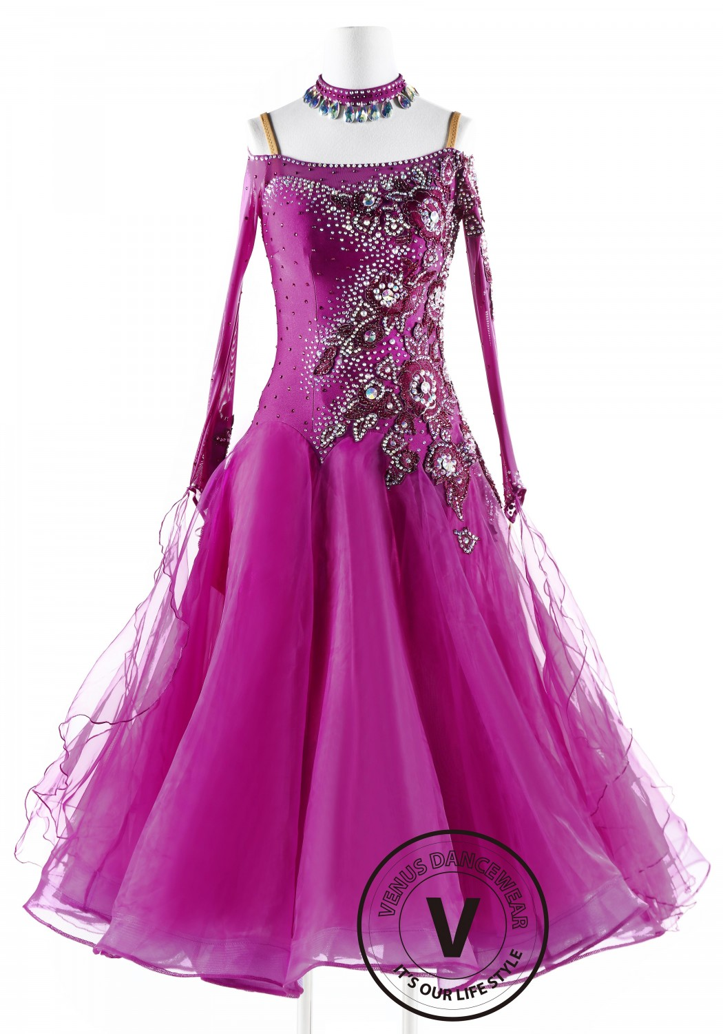 Fuchsia with Ruby Applique Ballroom Competition Dance Dress