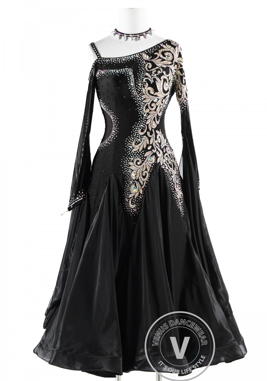 Dark Lady Pearl Silk Ballroom Competition Dance Dress