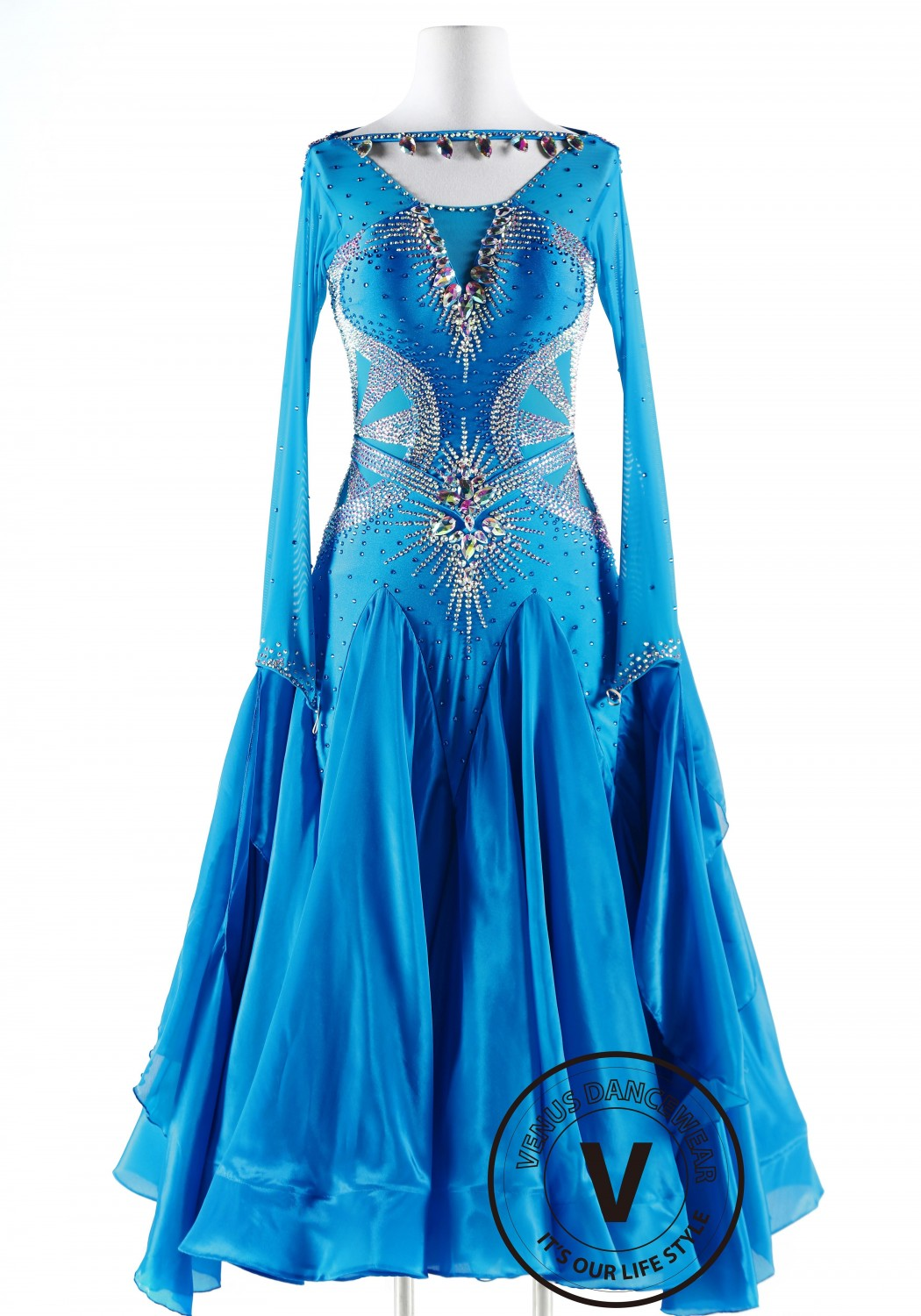 Lake Spirit Luxury Satin Chiffon Ballroom Competition Dance Dress