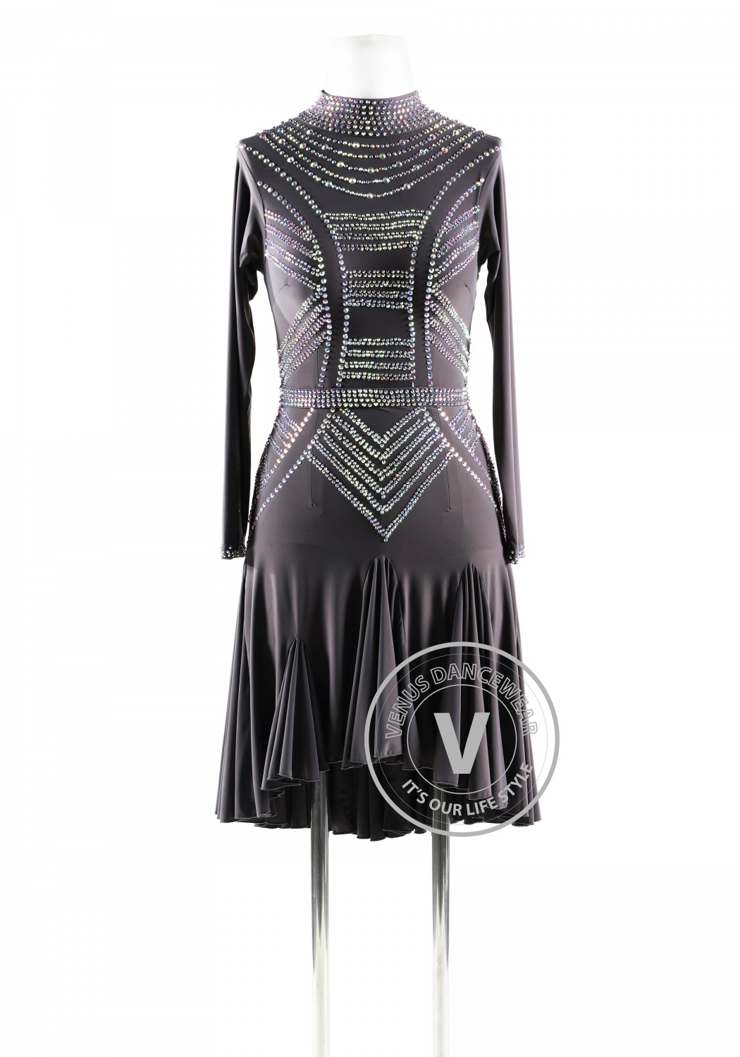 Jet Hematite High Collar Latin Rhythm Competition Dance Dress